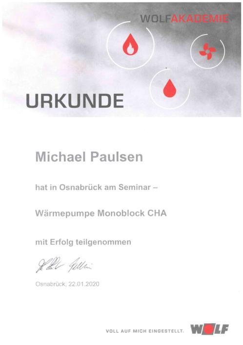 Zertifikat Wäremepumpe